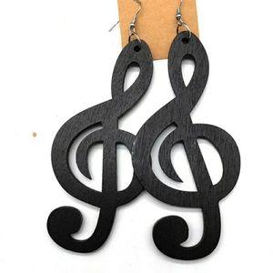Music note wooden dangle black earrings